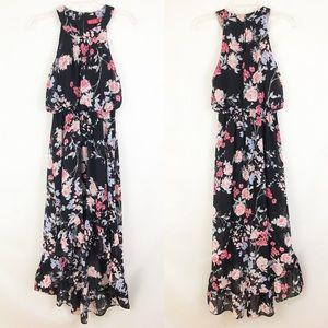Elle Black Floral High Low Maxi Dress Sz XS